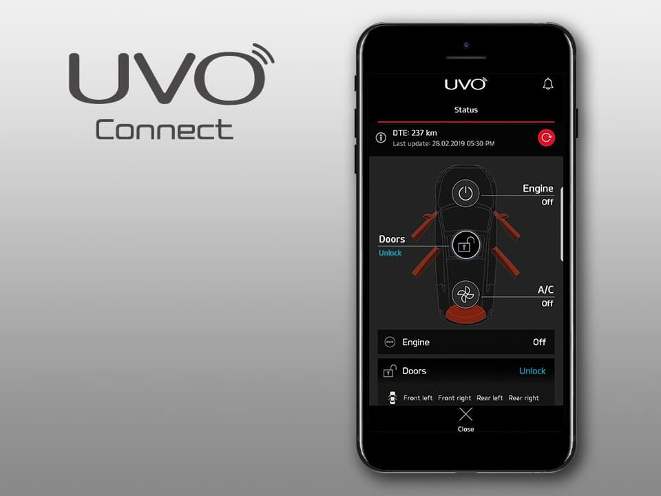 kia xceed plug-in hybrid UVO connected services